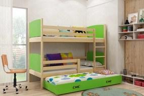 BMS Group Poschodová posteľ s prístelkou TAMI - s úložným priestorom - pre troch - BOROVICA