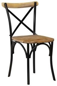 vidaXL Jedálenské prekrížené stoličky 2 ks čierne 51x52x84 cm masívne mangovníkové drevo