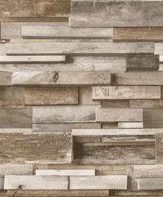 Vliesové tapety, drevený múr hnedý, Facade FC3002, GRANDECO, rozmer 10,05 m x 0,53 m
