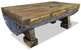 vidaXL Konferenčný stolík z masívneho recyklovaného dreva, 90x50x35 cm