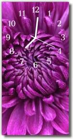 Sklenené hodiny vertikálne  Fialové pivonka kvety