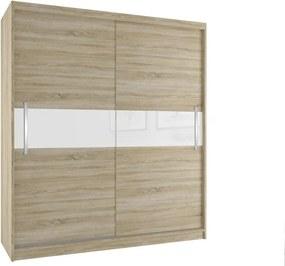 Šatníková skriňa v prírodnom dizajne s posuvnými dverami šírka 200 cm dub sonoma korpus Hliníkové