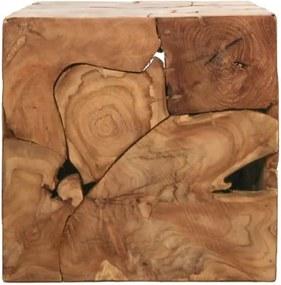 Príručný stolík z teakového dreva HSM collection Cube, 40 × 40 cm