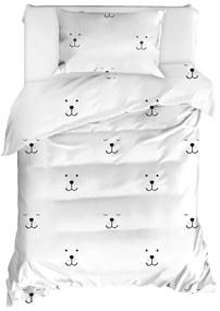 Obliečky na jednolôžko z ranforce bavlny Mijolnir Eles White, 140 × 200 cm