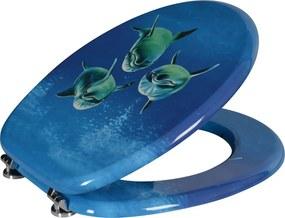 Funny HY-S115 WC sedátko s potlačou delfíni, MDF