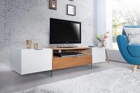 TV-stolík Onyx 160cm biely sklo-dub