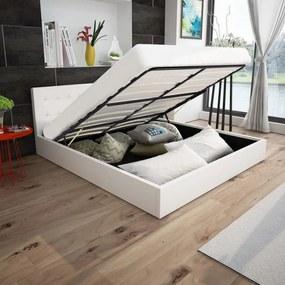 vidaXL Rám postele s plynovým výklopným piestom, umelá koža, 160x200 cm, biela