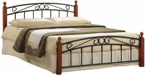 KONDELA Dolores 140 kovová manželská posteľ s roštom čerešňa / čierna