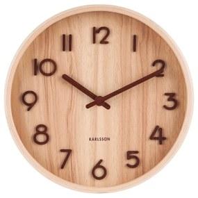 Svtlohnedé nástenné hodiny z lipového dreva Karlsson Pure Small, ø 22 cm