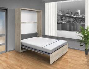 Nabytekmorava Sklápacia posteľ VS 1054 P - 200x180 cm A nosnost postele: štandardná nosnosť, farba lamina: dub sonoma/biele dvere