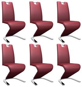 vidaXL Jedálenské stoličky, cikcakový tvar 6 ks, červené, umelá koža