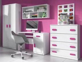 ID Nábytková stena Svend - biela,ružová