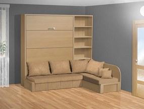 Nabytekmorava Sklápacia posteľ s rohovou pohovkou VS 3075P - 200x140 cm nosnost postele: štandardná nosnosť, farba lamina: buk 381, farba pohovky: nubuk 133 caramel
