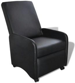 vidaXL Skladacie kreslo, čierne, umelá koža