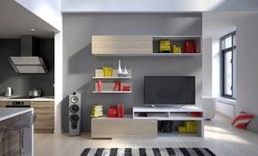Kvalitná obývacia stena Board biela / dub sonoma