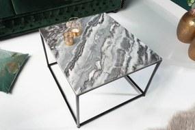 Dizajnový konferenčný stolík Factor 50 cm mramor sivý
