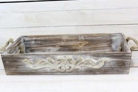 Drevená tácka s úchytkou - hnedá (39,5x6,5x23 cm)