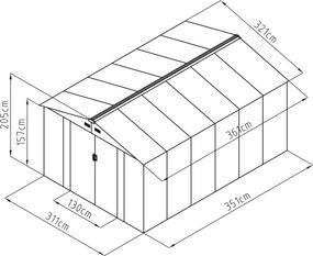 Záhradný domček G21 GAH 1092 - 311 x 351 cm, zelený GAH-1092-ZNG-2S0