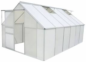 vidaXL Skleník, polykarbonát a hliník, 371x250x195 cm