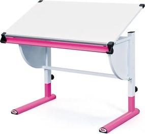 Polohovateľný písací stôl Cetrix, ružový/biely