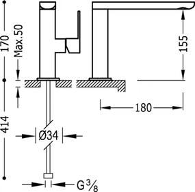 TRES - Jednopáková umyvadlová baterie ramínko 35x15 mm (20020501ROD)