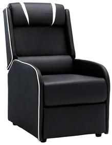 vidaXL Sklápacie kreslo, čierno biele, umelá koža