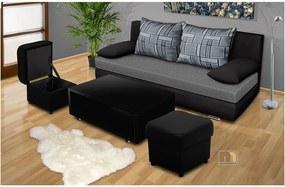 Rozkladacia pohovka s )ložným priestorom Avenue + stolík + 2 taburety farba čalounění: eko kůže černá/šedá