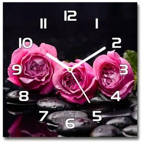 Sklenené hodiny štvorec Ružové ruže pl_zsk_30x30_f_77048055