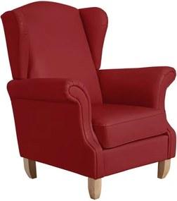 Červené kreslo ušiak Max Winzer Verita Leather Chili