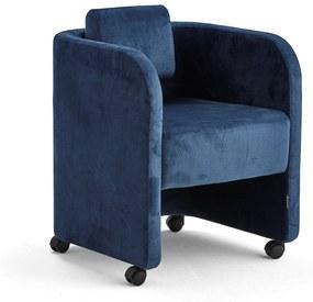 Kreslo Comfy, s kolieskami, zamatová tkanina, modrá