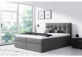 Jednoduchá posteľ Rex 200x200, šedá + TOPPER