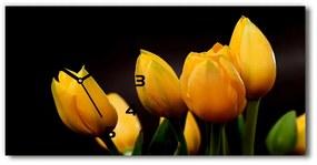 Sklenené hodiny na stenu tiché Žlté tulipány pl_zsp_60x30_f_64836622