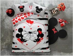 Bavlnené obliečky s plachtou na dvojlôžko Tac Mickey & Minnie Amour, 200 x 220 cm