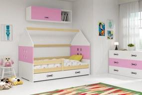 Domčeková posteľ DOMI 160x80cm BOROVICA - Biela - Ružová