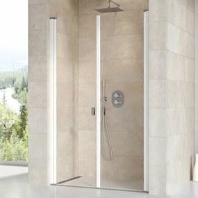 Sprchové dvere Ravak Chrome dvojkrídlové 90 cm, sklo číre, biely profil 0QV7C10LZ1