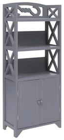 vidaXL Skrinka do kúpeľne, sivá 46x24x116 cm, drevo paulovnie