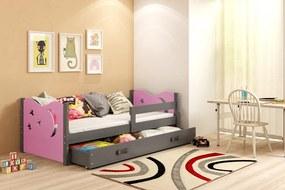 Posteľ MIKULÁŠ - 160x80cm - Grafitový - Ružový