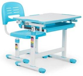 Tommi detský písací stôl, dvojdielna sada, stôl, stolička, výškovo nastaviteľné, modrá