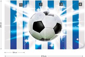 Fototapeta GLIX - Football Blue And White Stripes + lepidlo ZADARMO Vliesová tapeta  - 416x254 cm