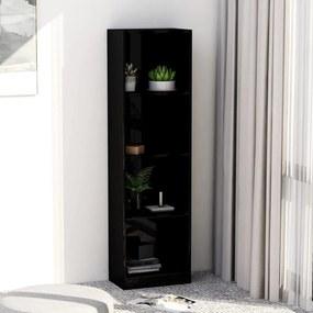 vidaXL 4-poschodová knižnica lesklá čierna 40x24x142 cm drevotrieska