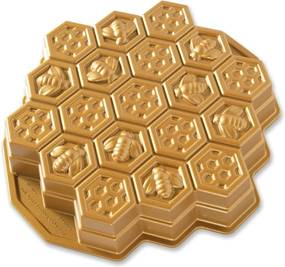 Forma na pečenie v tvare medu v zlatej farbe Nordic Ware Bee, 2,4 l