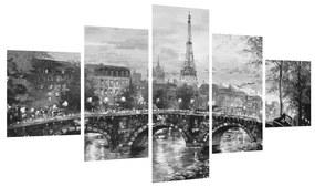 Obraz čiernobielej krajiny s Eiffelovou vežou (K013569K12570)
