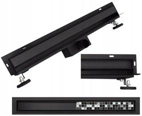 MAXMAX Sprchový žľab do steny MEXEN FLAT WALL 2v1 - čierny matný