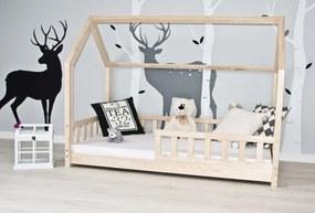 Detská posteľ sa zábranou domček - prírodný 180x80 cm