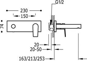 TRES - Jednopáková nástenná batéria Vrátane nerozdělitelného zabudovaného telesa. Ramienko 213 mm. (21120202)