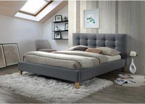 Sivá dvojlôžková posteľ TEXAS 140 x 200 cm Matrac: Matrac COCO MAXI 23 cm