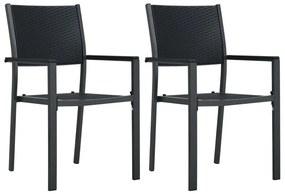 vidaXL Záhradné stoličky 2 ks čierne plastové ratanový vzhľad