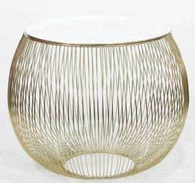 Bighome - Príručný stolík STORGE 41 cm - zlatá, biela