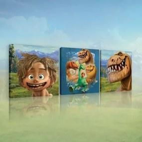 Obraz na plátne viacdielny - OB2626 - Dobrý Dinosaurus 75cm x 25cm - S13