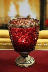 Červený rustikálny svietnik na podstavci  16cm